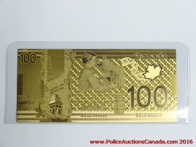 Police Auctions Canada - 24K Gold Leaf Replica 100 Canadian
