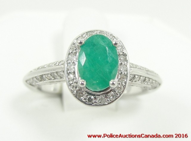 auctions canada 14k white gold emerald