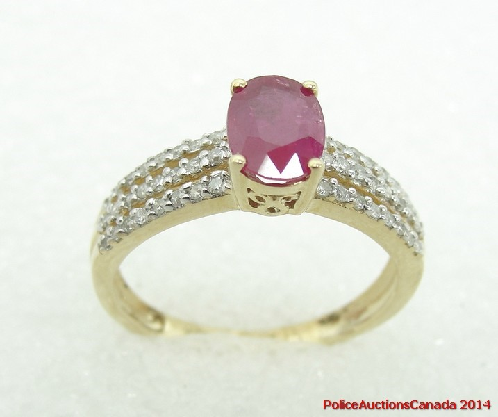 auctions canada 10k yellow gold ring ruby