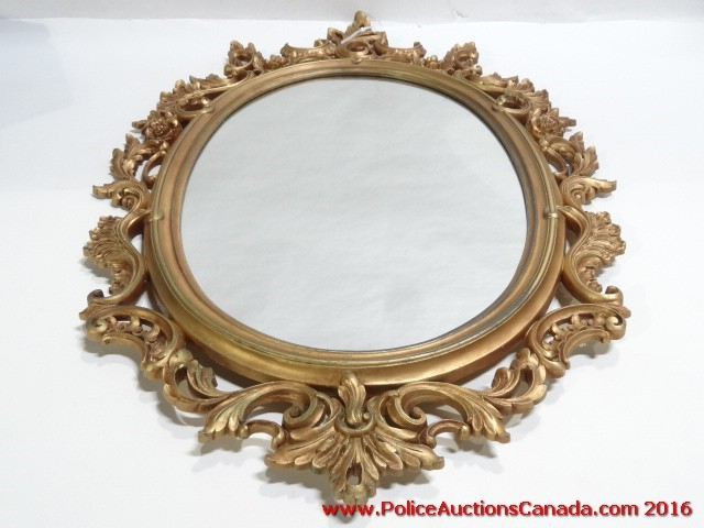 Police auctions canada vintage syroco ornate gold toned for Oval mirror canada
