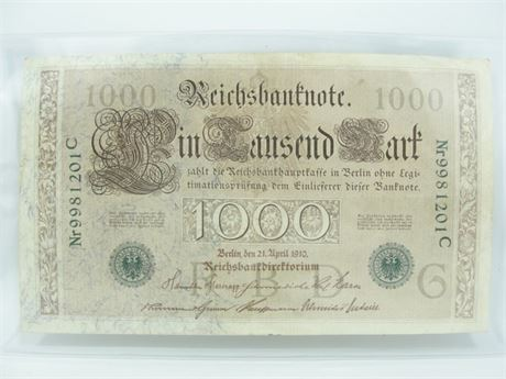 Police Auctions Canada - 1910 German 1000 Mark
